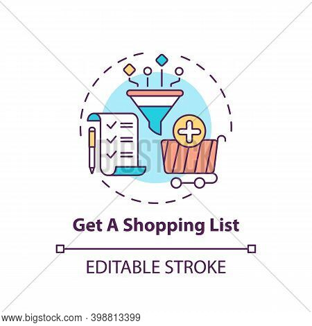 Creating Shopping List Concept Icon. Shopping Tip Idea Thin Line Illustration. Saving Time And Money