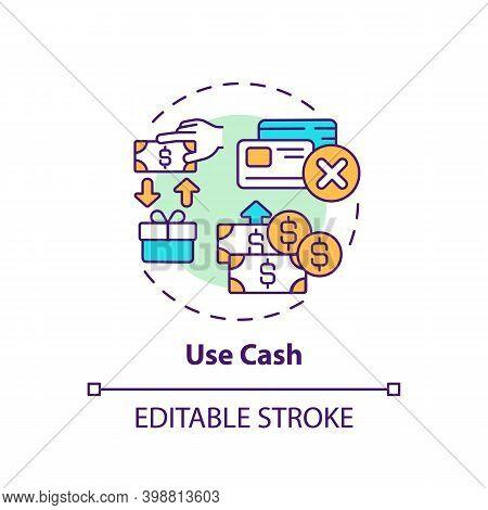 Using Cash Concept Icon. Shopping Tip Idea Thin Line Illustration. Saving Money. Overusing Credit Ca