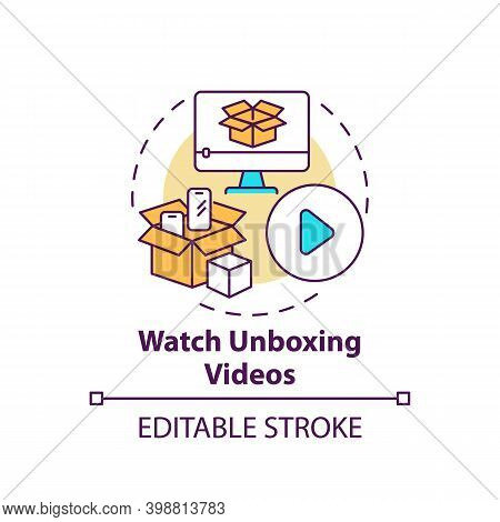 Watching Unboxing Videos Concept Icon. Informed Customer Tip Idea Thin Line Illustration. Showing Pr