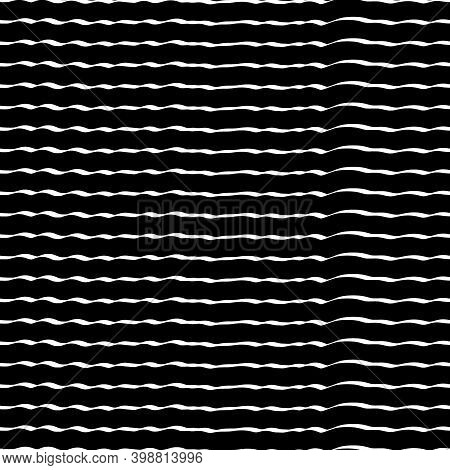Curved Lines Seamless Pattern. Jagged Stripes Ornament. Curves Print. Striped Background. Linear Wav