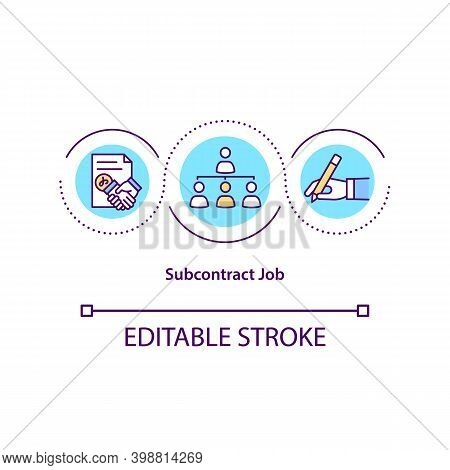 Subcontract Job Concept Icon. Outsourcing Practice Idea Thin Line Illustration. Freelancer, Independ
