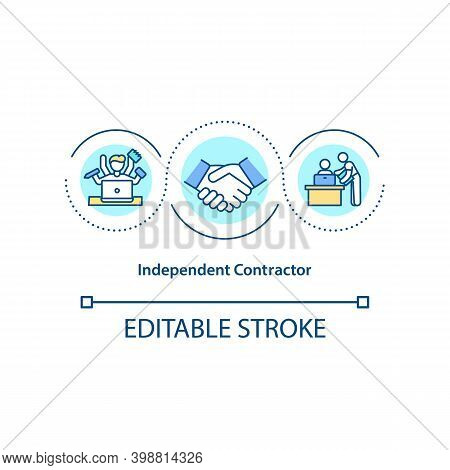 Independent Contractor Concept Icon. Freelancer, Virtual Assistant Idea Thin Line Illustration. Perf