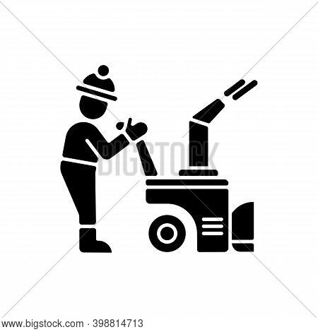 Snow Sweeping Black Glyph Icon. Removing Huge Amounts Of Snow After Stormy Snowfall. Cleaning Street