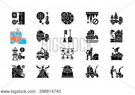 Snow Removing Services Black Glyph Icons Set On White Space. Clearing City After Strong Snowfall. Sp