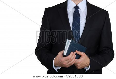Businessman with business diary