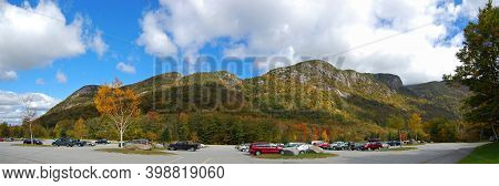 Franconia Notch With Fall Foliage And Echo Lake Panorama In Franconia Notch State Park In White Moun