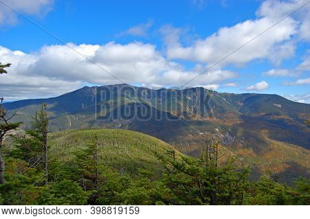 Franconia Notch With Fall Foliage And Mount Lafayette Aerial View From Top Of The Cannon Mountain In