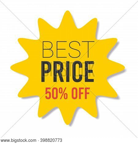 Yellow Sale Starburst Sticker - Star Edge Round Label And Badge With Best Offer And Discount Signs.