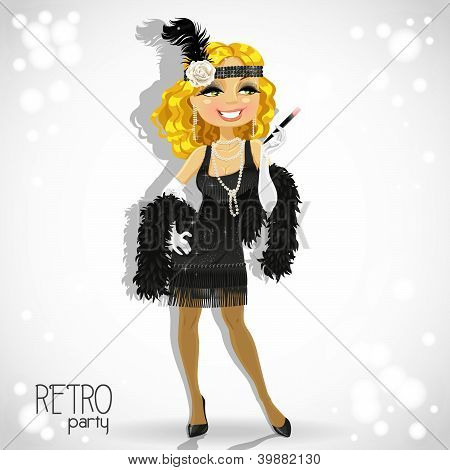 Cute blond woman with mouthpiece on white Retro party card