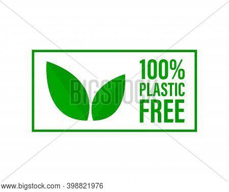 Plastic Free Green Icon Badge. Bpa Plastic Free Chemical Mark Zero Or 100 Percent Clean.