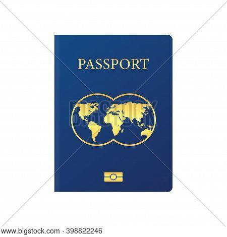 Vector International Passport Cover Template. Blue Passport On White Background.