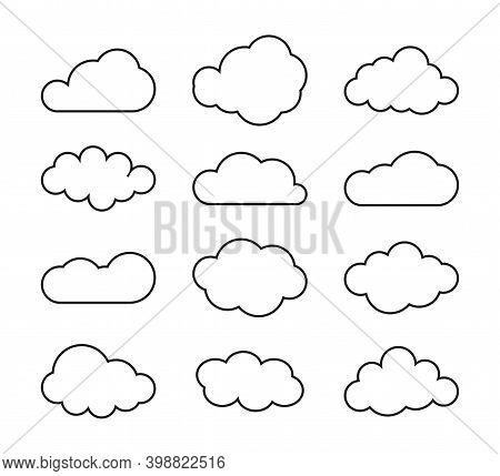 Set Of Blue Sky, Clouds. Cloud Icon, Cloud Shape. Set Of Different Clouds.
