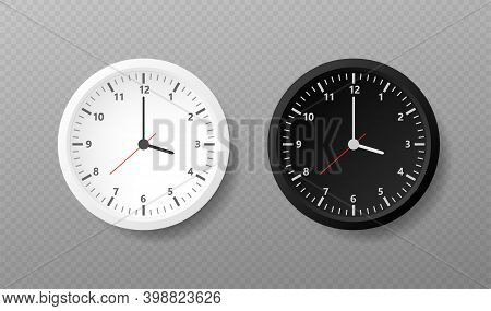 Realistic Office Clock. Wall Round Watches With Time Arrows And Clock Face. Vector Illustration.