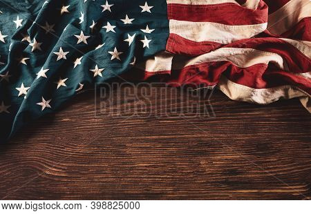 Martin Luther King Day Celebrated Concept. American Flag On Old Wooden Background