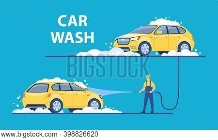 Washing Of The Car With Foam At The Washing Station. Cleaning Vehicle Concept. Flat Cartoon Vector I