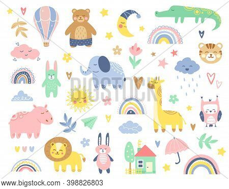Abstract Colorful Baby Doodles Set. Baby Animals Fabric Pattern. Vector Illustration With Cute Anima