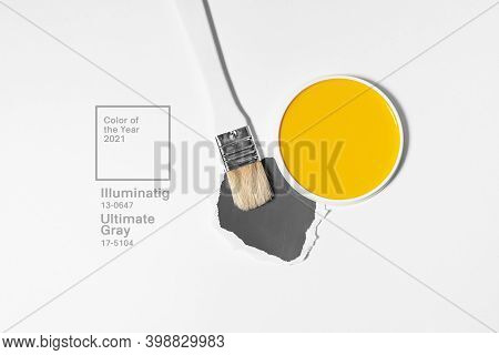 White Brush On Light Background With Trend And Mod Colors Of 2021 Year. Minimalistic Picture For Art
