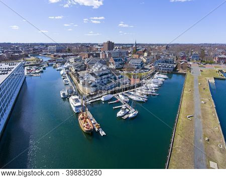 Aerial View Of Salem Historic City Center And Pickering Wharf Marina In City Of Salem, Massachusetts