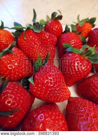 Sweet Ripe Red Strawberry Berry Fruit Summer Background Texture