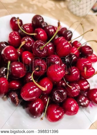 Sweet Ripe Red Cherry Berry Fruit Summer Background Texture