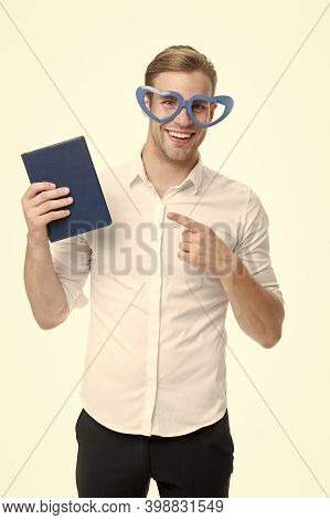 I Choose Book. Happy Man Point Finger At Book. Funny Guy Read Book In Fancy Glasses. Nerd And Biblio