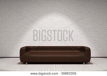 Sofá de cuero marrón