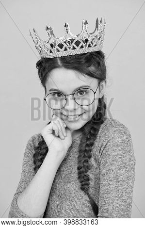 Adorable Girl In Glasses. Happy Smiling Princess. Excellent Pupil. Success And Happiness. Smartest P