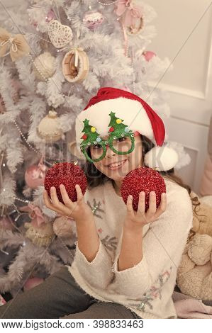 Holiday Party Hosting. Happy Child Celebrate Christmas And New Year. Little Girl Enjoy Santa Claus P