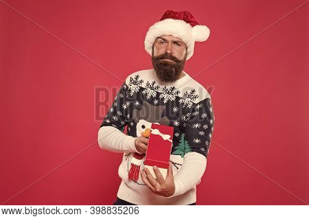 Bought Present. Hipster Santa Prepare Present Pack. Bearded Man Hold Wrapped Present. Present Box Fo