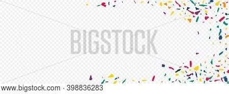 Green Smear Abstract Panoramic Transparent Background. Decoration Particles Banner. Happy Elements B