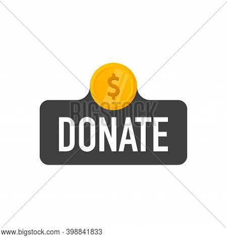 Donation And Charity. Donate Money Concept. Golden Coin Fund In Money Box