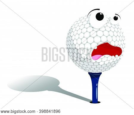 Frightened, Scared Golf Ball Stands On Tee, Stand, Waiting To Be Hit. Sport Equipment. Funny Cartoon