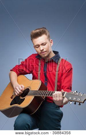 retro guitar player