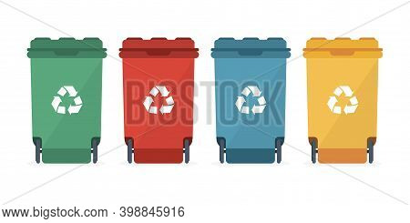 Different Colored Recycle Waste Bins Vector Illustration, Waste Types Segregation Recycling.