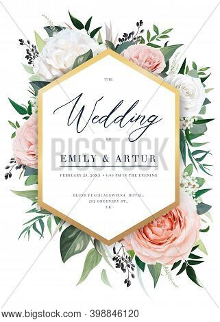 Elegant Vector Floral Wedding Invite, Invitation Card Design. Beautiful Blush Peach, Dusty Pink Gard