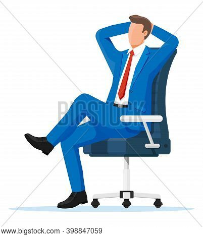 Businessman Relaxing In Wheelchair. Man Character Sleep In Chair. Boss Resting In Calm Pose. Busines
