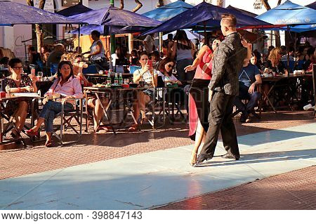 Alluring Argentine Tango Dance At Plaza Dorrego Square In San Telmo Neighborhood, One Of The Main To