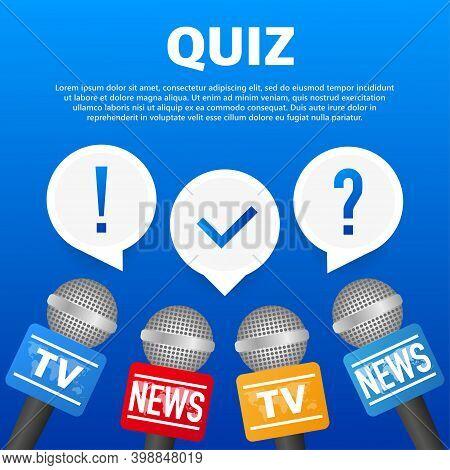 Quiz Logo With Speech Bubble Symbols, Concept Of Questionnaire Show Sing, Quiz Button.
