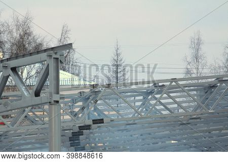 An Old Steel Metal Farm. Structure Of Metal Structure Of Frame-type Industrial Building. Lightweight