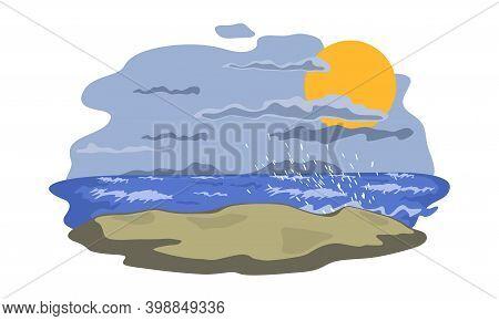 Grey Dark Sky, Raging Ocean, Big Waves, Wind. Vector Weather Change, Nature Landscape, Tropical Rain