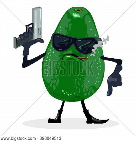 Cool Avocado In Glasses With Gun Smoking Cigarette, Fruit With Eyes, Hands, Legs And Mouth. Vector V