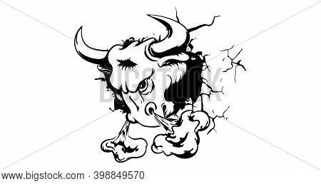 Cartoon Fierce Bull Mascot Animal Character Breaking Through A Wall