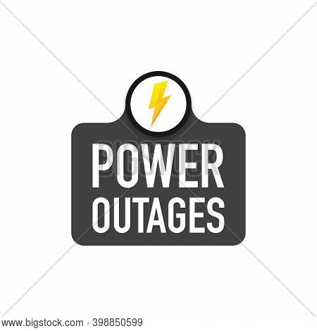 Power Outage Symbol. Electricity Symbol On Yellow Caution Triangle With Text