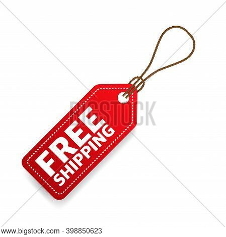 Free Shipping Price Teg. Red Free Shipping Label.