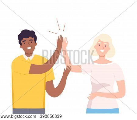 Happy African American Man Giving High Five To Woman Vector Illustration