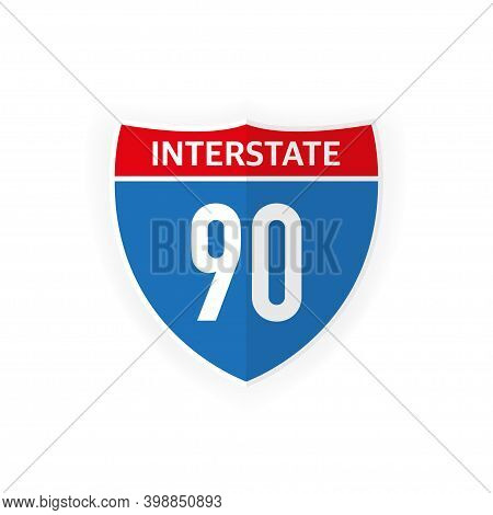 Interstate Highway 90 Road Sign Icon Isolated On White Background. Vector Illustration.