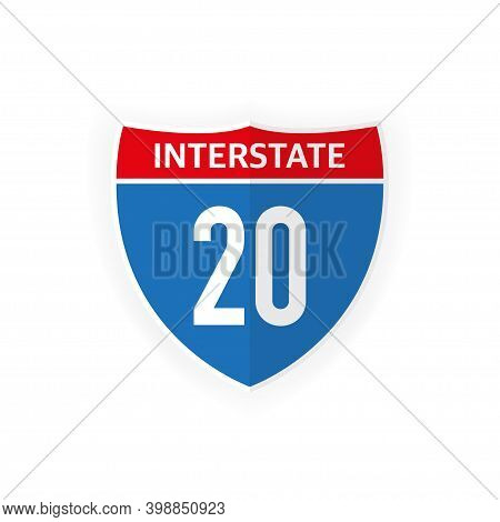 Interstate Highway 20 Road Sign Icon Isolated On White Background. Vector Illustration.