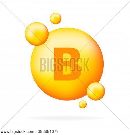 Vitamin B Shining Pill Capcule Icon. Shining Golden Substance Drop. Meds Ads. Beauty Treatment Nutri