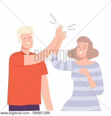 Young Man And Woman Giving High Five To Each Other Vector Illustration