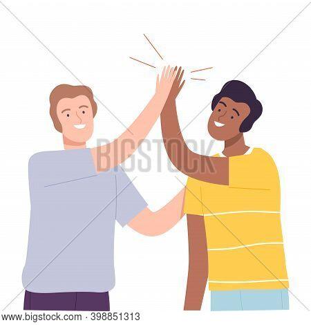 Smiling Male Sliding Hands As High Five Gesture Vector Illustration
